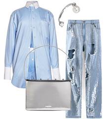 Шорты и рубашка Alexander Wang, джинсы Ashish, сережка Delfina Delettrez, сумка Jil Sander