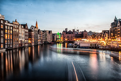 Damrak and Rokin (Amsterdam) (PaulHoo) Tags: amsterdam night evening longshutter 2017 blue hour nikon d700 central station damrak architecture cityscape light lightray city urban cityview illuminated neon building rokin color