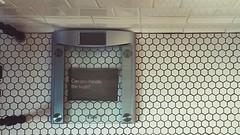confrontation (killyourcar) Tags: bathroomscale bathroom scale text hexagon tiles floor ceramictile white