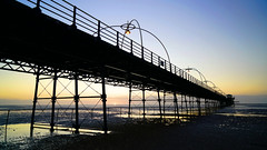 Southport Sunset (Mark BJ) Tags: southport merseyside pier sea sunset beach reflection marinedrive gradeiilistedbuilding water sand pool railing ironsupports tide shore light uk