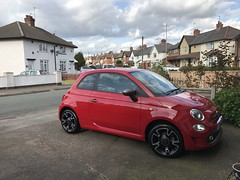Fiat 500-S - 2016 Model (Paul.Bevan) Tags: fiat 500 s sports pasodoblered red car small italian blackwheels alloy black kingofgloss soft99 fusso polished glossylooking clouds outdoors streetview dickinsondrive eastersaturday uk street houses