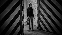 More of the stripes... (@ N I G H T) Tags: girl cinematic bw portrait fuji fujifilm xe2s fujinonxf23f14r