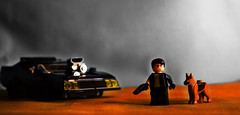 The Road Warrior (Andrew Cookston) Tags: lego madmax sand dust wasteland max rockatansky v8 police interceptor georgemiller moc photoshop custom minifig teal orange stilllife toy lighting nikon macro photography andrewcookston coupe gt xb fordfalcon 1973