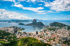 Rio (MaxSkyMax) Tags: canon brazil panorama view sea sky clouds bay hills corcovado botafogo pãodeaçúcar boats boreal