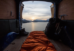 Home from home ([ Jaso ]) Tags: scotland highlands wild camper van sleeping bag iceaxe landscape loch lake water sky mountains sunset lochquoich vehicle