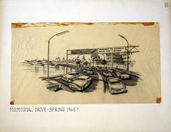 """Memorial Drive - Spring 1965"" (Cambridge Room at the Cambridge Public Library) Tags: drawingsvisualworks vonhennebergjacek jacekvonhenneberg cambridgemass memorialdrive"