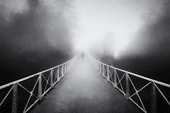 Foggy day (www.streetphotography-berlin.com) Tags: street streetphotography streetlife woman alone silhouette bridge fog mist misty foggy day art fineart tuscany italy blackandwhite blackwhite