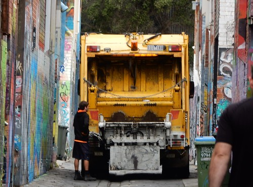 Rubbish Truck in Lane