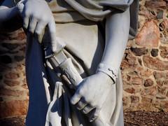 Drawing a sword (pilechko) Tags: dukefarms hillsborough nj statue sculpture figure classical color