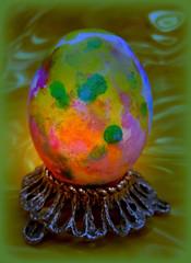 nightlight (milomingo) Tags: easter egg easteregg multicolored colorful artsyfartsy decoration festive holiday photoborder vivid bold bright vibrant organic creative coloredegg abstract organicart dye painted oval ovaloid hardboiledegg a~i~a light highlight green spot concept conceptual