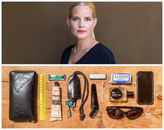 Lina Diptych (J Trav) Tags: persona thingsorganizedneatly diptych venice california whatsinyourbag theitemswecarry showusthecontentsofyourbag portrait woman blonde