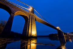Aquamarina (Robalabob1) Tags: menai suspension bridge wales north anglesey ynys mon crossing water river blue hue hour seascape landscape