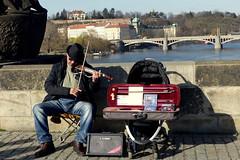 Entertaining the Public (Hythe Eye) Tags: prague praha czechrepublic streetentertainers charlesbridge playing violin