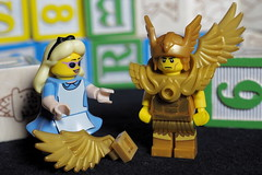 Alice is going to help the Winged Warrior with his broken wing (MuTant 99) Tags: home toys lego minifigures aliceinwonderland wingedwarrior wooden blocks olympusomdm10mkii olympusviewer3
