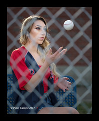 Carly's Baseball Shoot (Peter Camyre) Tags: peter camyre photography beautiful female model baseball player team red sox jersey game chain link linked fence throw ball image picture pretty girl posing pose modeling outdoor people friend