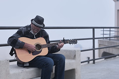 A man and his guitar on the HB pier (seanporterphotography) Tags: guitar man pier beach ocean waves fog foggy cloudy huntingtonbeach california outdoors outdoor nature downtown