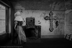 Photo artistry - Fighting evil (mcleod.robbie) Tags: black white furnancefashionedphotography evil moody window scary room alone woman girl darkness dark abstract struggle desolate tone