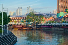 Singapore river with Clarke Quay and tourist boats in the morning (UweBKK (α 77 on )) Tags: singapore southeast asia sony alpha 77 slt dslr urban city island river clarke quay boats tourist water reflections morning sun