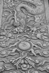 Flaming Pearl (Jane Inman Stormer) Tags: blackandwhite monochrome dragons relief sculpture carving stone chi qi horns scales fire pearl flame palace theforbiddencity beijing china