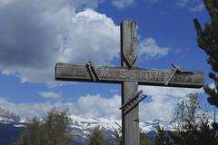 croix (bulbocode909) Tags: valais suisse nax montnoble valdhérens montagnes nature croix printemps arbres nuages vert bleu