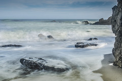 Slow Tide (MarcCooper_1950) Tags: lowtide longexposure surf malibu shore coast leocarrillo state beach sand foam rocks cliff waves ocean southern caliifornia pch zuma nikon d810 landscape seascape beautiful serene soft