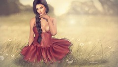 Keep Your Head Up! ...by Niani (xxnianixx) Tags: meva limited8 niani photography digitalart dandelion field sun dress hair secondlife sl dreamy faded