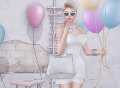 #174 Lets get this thing shakin like a disco ball (Violet Batriani | Blogger | Model) Tags: secondlife secondlifefashion blog bento catya maitreya white party balloons 3dbackground sunglasses choker cute girly