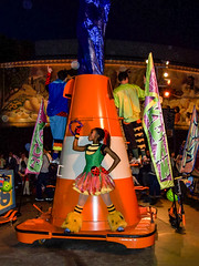 Bloody Road Cones (Steve Taylor (Photography)) Tags: blue green people man men woman lady cone road traffic anaheim california disneyland resort unitedstates usa tabourine ladybird banner flag boots parade orange