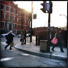 2013-04-15 Run ([ henning ]) Tags: city sunset people trafficlights crossing quebec montreal pedestrian rush metropolis hurry streetshot iphone passersby overpath dcfilm hipstamatic loftuslens