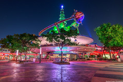 The Lunching Pad (TheTimeTheSpace) Tags: night reflections stars nikon neon glow space disney disneyworld future planets rockets waltdisneyworld tomorrow tomorrowland hdr magickingdom d800 astroorbiter matthewcooper thelunchingpad thetimethespace