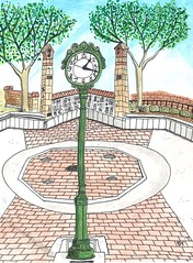 Meridian Clock (Brad Young Art) Tags: clocktower clocks meridianidaho inktensewatercolorpencils generationspark