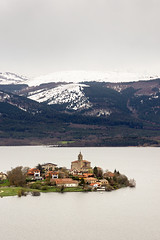 Ullibarry Gamboa village over Zadorra reservoir in winter (Mimadeo) Tags: winter mountain lake snow church landscape countryside town spain village snowy dam country reservoir swamp alava gamboa basque vasco euskadi basquecountry paisvasco pais ullibarri zadorra ganboa ullibarrigamboa ullibarriganboa
