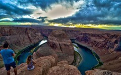 Horseshoe Bend and Us (PillarOfAutumn) Tags: sunset arizona sky usa clouds river landscape photography nikon colorado bend tripod tokina explore page horseshoe hdr tokina1116mmf28 atx116prodx nikond7000