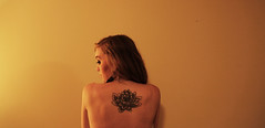My Body is a Journal (awindowtothesoul) Tags: flower art girl beautiful beauty tattoo project naked photo back artwork raw skin lotus buddhist days tattoos cover blonde 365 365daysproject