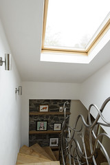Top of stairs (helloolwen) Tags: forsale fife contemporary cottage beam banister elm openplan velux custommade cupar farrowandball