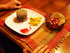 Gourmet Building (Mark of Falworth) Tags: food iron lego burger chips creation fries meal mayo salsa builder moc