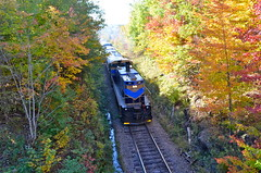 About to pass under me (Michael Berry Railfan) Tags: quebec easterntownships mlw mma m420tr orfordexpress montrealmaineatlanticrailway oex26