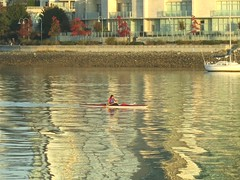 Canoeing through ripples (Ruth and Dave) Tags: ocean morning sea reflection vancouver boat canoe falsecreek inlet ripples paddling coneing coneist