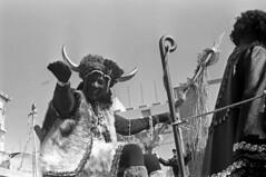 0216B69 29 (ndpa / s. lundeen, archivist) Tags: costumes people blackandwhite bw black 1969 film monochrome hat 35mm blackwhite costume louisiana downtown neworleans nick horns wave parade africanamerican 1960s nola february mardigras float waving canalstreet zulu dewolf witchdoctor zulus kreweofzulu nickdewolf photographbynickdewolf thewitchdoctor zulukrewe