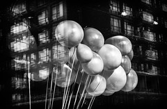White balloons (GBaker63) Tags: bw white toronto reflection building window balloons store olympusmzuikodigitaled14150mmf4056 olympusomdem5