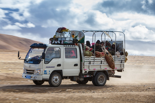 Tibetan family on road of pilgrimage