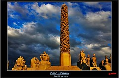 Oslo - Norway - The Monolith in the center of Frogner park (pharoahsax) Tags: world park sunset art colors oslo norway statue bronze clouds canon norge sonnenuntergang kunst norwegen statues wolken norwegian gustav granite frogner nor monolith et parc bronce vigeland granit vigelandsanlegget 40d canon40d pmbvw worldgetcolors besgt