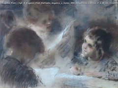 Eugenio Prati I figli di Eugenio Prati Raffaella Angelico e Guido 1895 tempera su cartone 37 x 49 cm. Colezzione privata