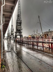 Another Rainy Day (AreKev) Tags: rainyday wet rain rainy raining pavement cranes mshed industrial museum industrialmuseum harbourside bristolharbour floatingharbour princeswharf bristol england uk sonydschx20v hdr photomatixpro tonemapped