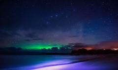 Brewing Aurora (steinliland) Tags: sea mountains night clear shore reflexions auroraborealis lofotenislands steinliland flickrbronzetrophygroup