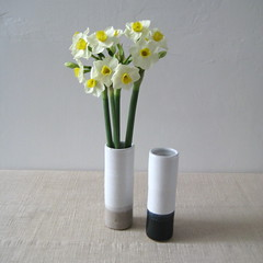 Slim Narrow Stem Vases (Jude Allman) Tags: flowers white ceramic ceramics crafts craft pot pots jude clay vase pottery vases stoneware allman
