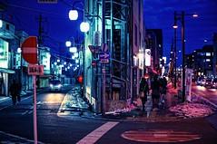 U Road at Dusk (hidesax) Tags: street blue light red sky people snow cold car japan night lights sony saitama ageo speedbooster hidesax metabones nex6 voigtlandernokton58mmf14sliin nfemount nikongtoemount uroadatdusk