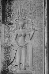Apsara in Interior Left Side Wall next to the King's Gate Back Column of Angkor Wat (Patumraat) Tags: world old travel holiday gambling building tourism beautiful architecture angel wonder thailand temple ancient cambodia heaven vishnu dancing image god religion goddess ruin culture buddhism fortune relief siem thom classical civilization shape angkor wat hindu bas apsara asean reise reab khmehr