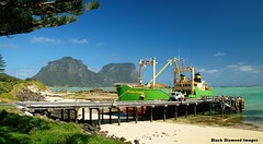 Island Trader Berthed at Lord Howe Island Wharf, NSW, Australia (Black Diamond Images) Tags: australia lordhoweislandtrader lordhoweislandwharf nsw boat islandtrader lordhoweisland ship vessel wharf mtlidgbird mygower yambatrader aviary blackdiamondimagescollection nswnationalparks