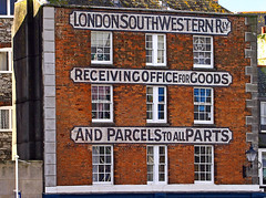 London South Western Railway Office Sign - Plymouth. (wontolla1 (Septuagenarian)) Tags: cornwall dartmouth plymouth sign warehouse road mile lswr office skeleton staff railway goods parcels londonandsouthwesternrailway empty building deserted abandoned closed